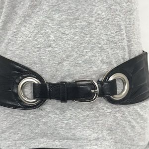 Black & Silver Toned Faux Leather Stretch Belt